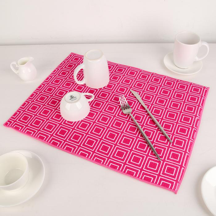 """Коврик для сушки посуды 38×51 см """"Квадраты"""", микрофибра, цвет розовый"""
