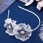 """Ободок для волос """"Восторг"""", два цветка с бусинами"""