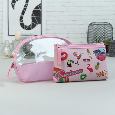 Набор косметичек 2 в 1 «Вечеринка», отдел на молниях, ручка, цвет розовый