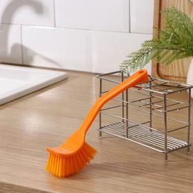 Щётка для посуды с изогнутой ручкой 20 см, цвет МИКС