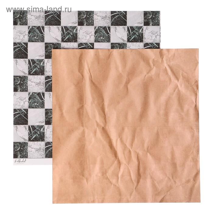 "Бумага д/скрапбукинга двустор. ""Текстура.Шахматы"" 30,5х30,5 см, плотность 190гр/м2"