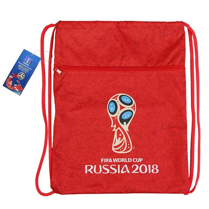 Мешок для обуви 470 х 340 на молнии «ЧМ по футболу 2018. Эмблема», красный