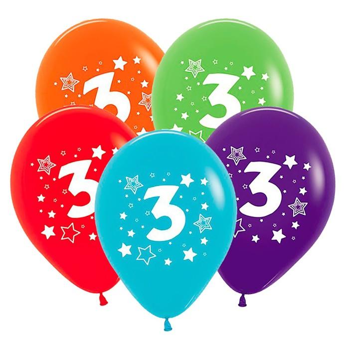 """Шар латексный 12"""" """"Цифра 3"""", звёзды, пастель, 5-сторонний, набор 25 шт., цвета МИКС - фото 143376224"""