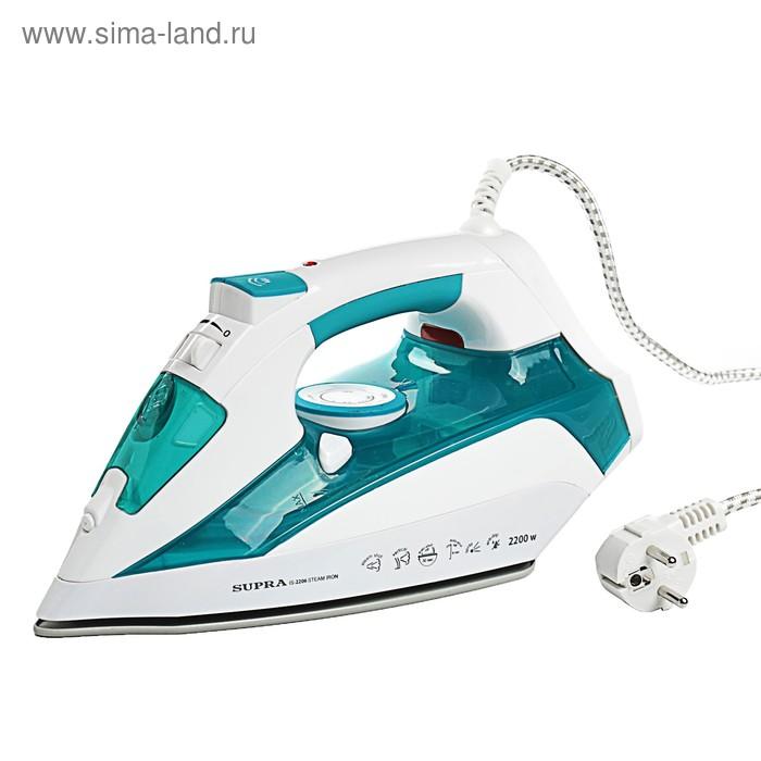 Утюг SUPRA IS-2206, 2200 Вт, керамическая подошва, спрей, паровой удар, голубой