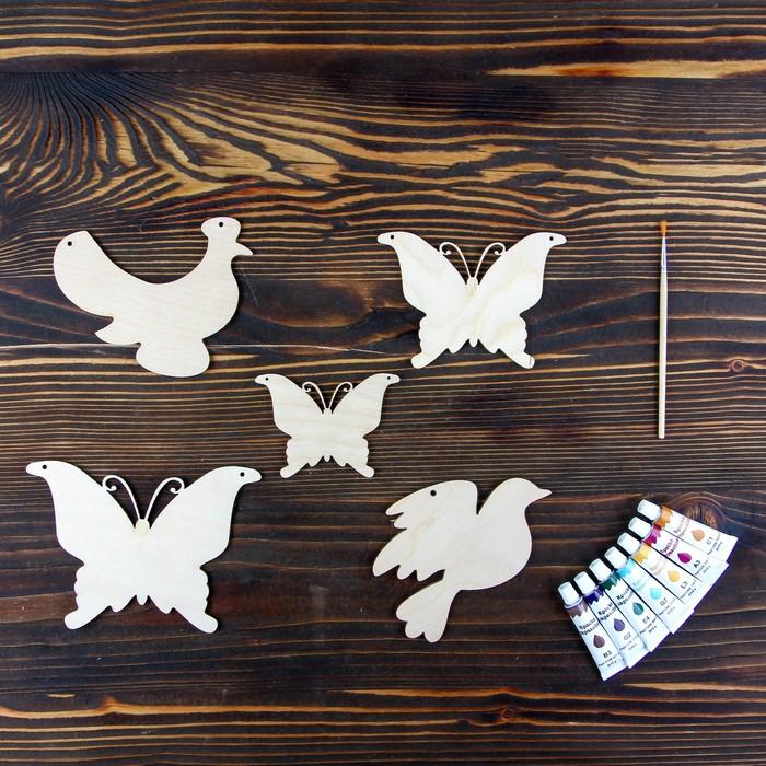 Набор для творчества «Животные», №3, 5 фигурок, акриловые краски, кисть, буклет