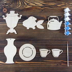 Набор для творчества «Гжель», 7 фигурок, акриловые краски, кисть, буклет Ош