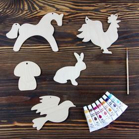 Набор для творчества «Животные», №2, 5 фигурок, акриловые краски, кисть, буклет