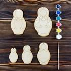 Набор для творчества «Учимся рисовать матрёшку», 5 фигурок, акриловые краски, кисть, буклет