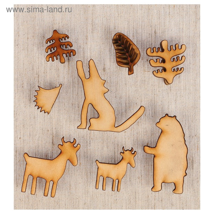 Набор штампов «Лесные зверята» №13, 8 фигурок, салфетка, инструкция