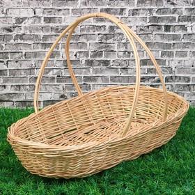 Корзина «Продуктовая», дно=19х39, Dверх: 44×26 см, H=7/31 см, ручное плетение, лоза