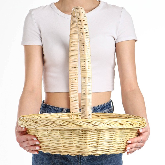 Корзина «Продуктовая», Dдно=28, Dверх= 41 см, H=10/44 см, ручное плетение, лоза