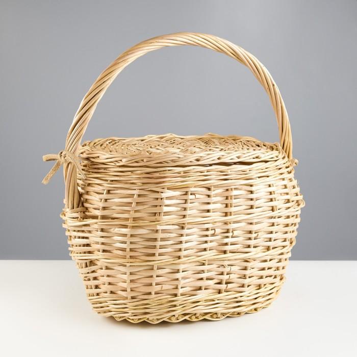 Корзина «Хозяйственная», с крышкой, 17/26×30/38×22/42 см, ручное плетение, ива