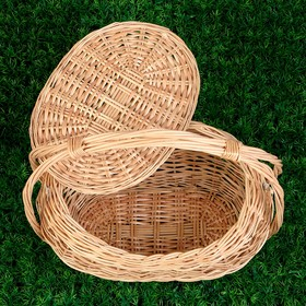 Корзина «Хозяйственная», с крышкой, 17/26×30/38×22/42 см, ручное плетение, ива - фото 1957782