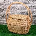 Корзина «Хозяйственная», №2, с крышкой, дно:33/41×20/30×26/51 см, ручное плетение, лоза