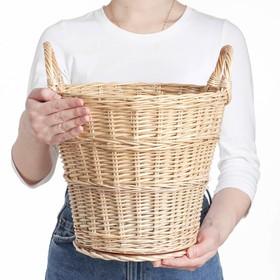 Корзина «Садовод», дно фанера:20×20, верх: 30×30, H=35/45 см, ручное плетение, ива