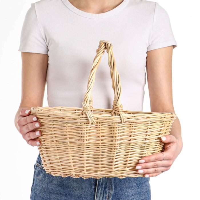 Корзина «Для яблок», дно:19×26 см, верх:30×35 см, H=15/35 см, ручное плетение, ива