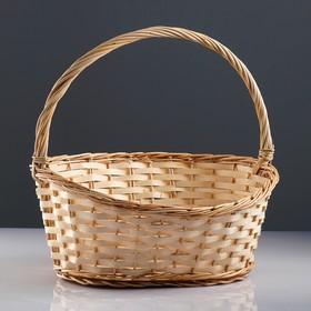 Корзина «Новая», дно:34×24 см, верх:43×37 см, H=14/19/41 см, ручное плетение, шпон, лоза