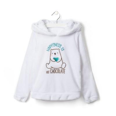 """Джемпер детский с капюшоном для девочки KAFTAN """"Happy family"""" белый, р-р 34, 100% п/э"""