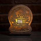 """Соляной светильник """"Сказочный шар"""", деревянный декор, цельный кристалл, 19 х 17 х 6 см"""