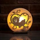 """Соляной светильник """"Мишка в Сердце"""", деревянный декор, цельный кристалл"""
