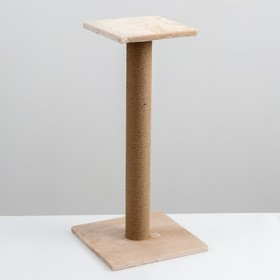Когтеточка с высоким и толстым столбиком и площадкой, джут, 35 х 35 х 84 см, бд
