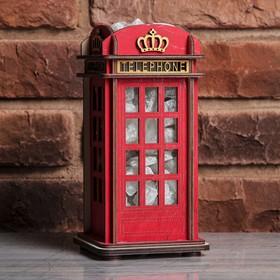 """Соляной светильник из дерева """"Телефонная будка Лондон"""", 11 х 11 х 22 см"""