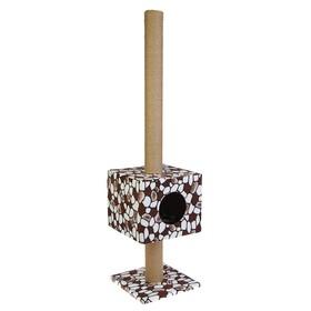 """Домик """"Кубизм №2"""" с высокой когтеточкой, джут, 35 х 35 х 140 см  микс цветов"""