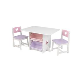 Набор детской мебели Heart, стол, 2 стула, 4 ящика