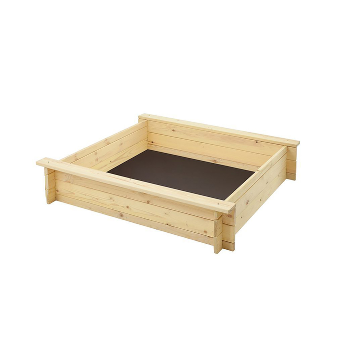 """Песочница деревянная """"Алладин"""", 110 х 110 х 25 см., 2 лавки, подложка"""