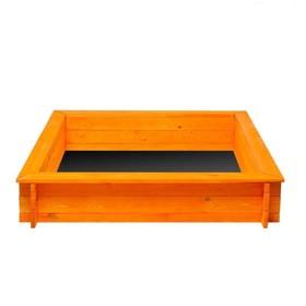 """Песочница деревянная """"Афина"""", 110 х 110 х 25 см., 4 лавки, подложка, цвет оранжевый"""