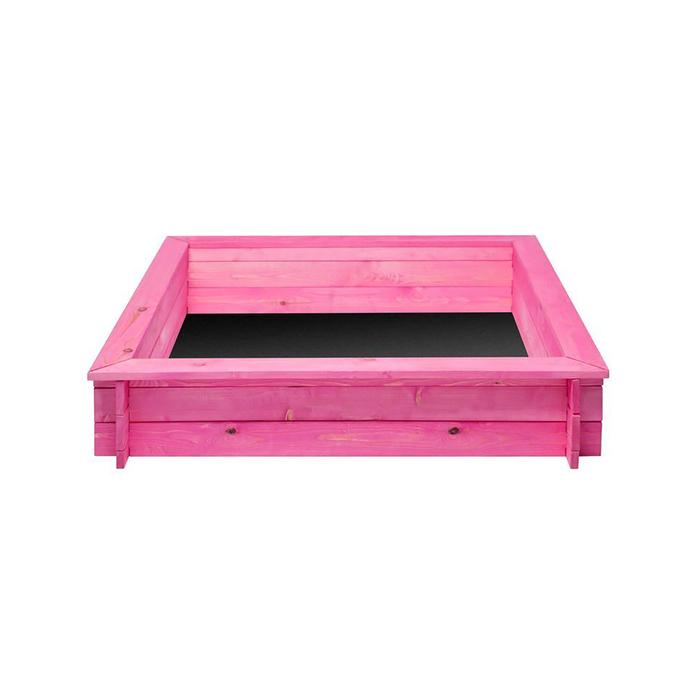 """Песочница деревянная """"Афродита"""", 110 х 110 х 25 см., 4 лавки, подложка, цвет розовый"""
