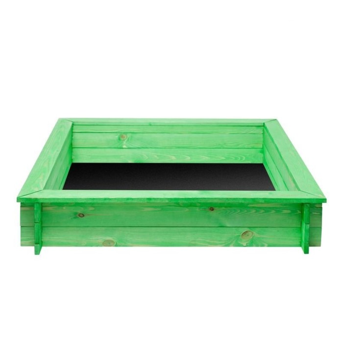 """Песочница деревянная """"Клио"""", 110 х 110 х 25 см., 4 лавки, цвет зелёный"""