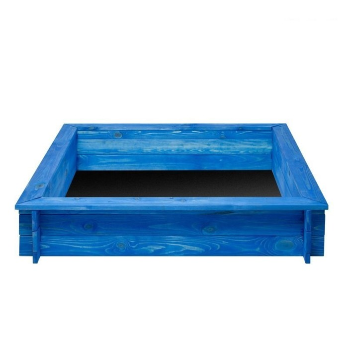 """Песочница деревянная """"Одиссей"""", 110 х 110 х 25 см., 4 лавки, подложка, цвет синий"""
