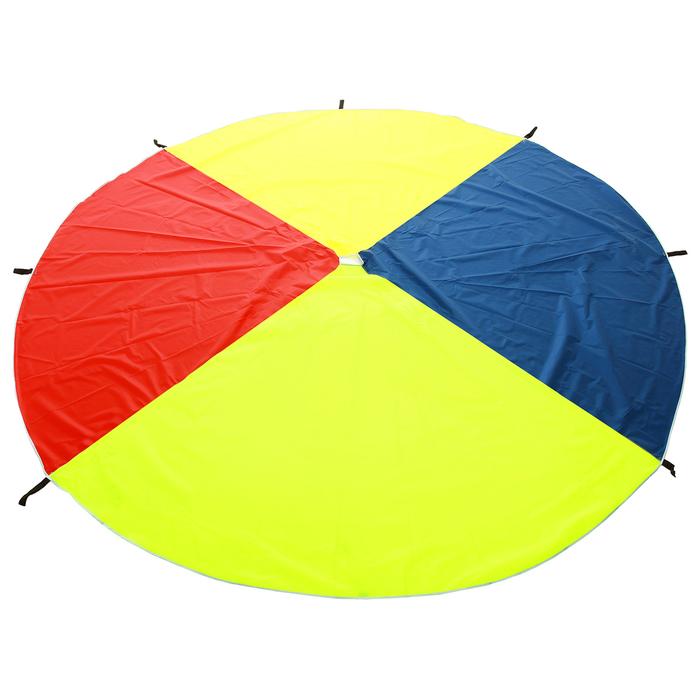 Парашют 4 сектора, 4 цвета d=3м, 8 ручек, цвета микс
