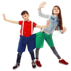 Шорты эстафетные для двоих, две штанины с лямками, цвет микс