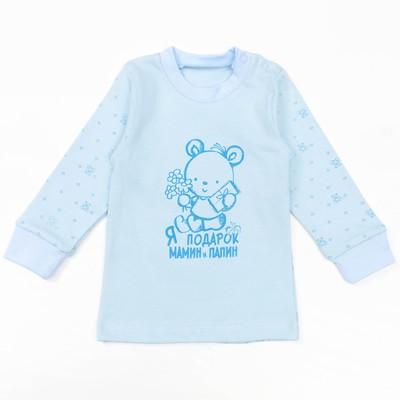 """Кофта с длинным рукавом детская """"Маленькие мишки"""", рост 80 см, цвет голубой 12841_М"""