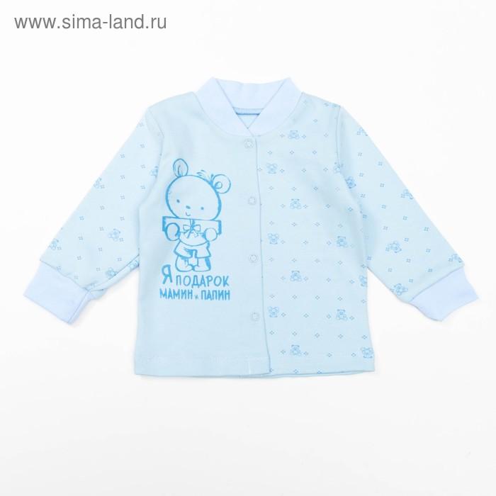 Кофта детская с длинным рукавом ''Маленькие мишки'', рост 68 см, цвет голубой 3320_М