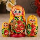 """Matreshka """"strawberries"""", yellow dress, 3 doll, 10 cm"""