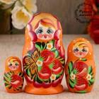 Matryoshka zemlyanichka, orange dress, 3 doll, 10 cm