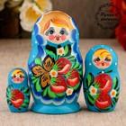 Matryoshka zemlyanichka, blue dress, 3 doll, 10 cm