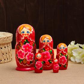 Матрёшка «Фиалки», бордовое платье, 5 кукольная, микс,  18 см