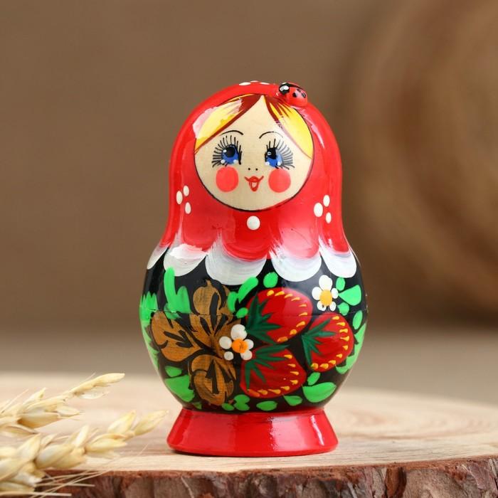 Матрёшка «Божья коровка», красное платье, 5 кукольная, 10 см - фото 538140067