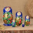 Матрёшка «Божья коровка», голубое платье, 5 кукольная, 10 см