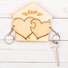 """Ключница деревянная с брелоками """"Love"""" сердечки"""