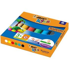 Пластилин, 6 цветов, детский, мягкий, вес бруска - 10 г, BIC Kids Plastelina