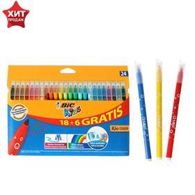 Цветные фломастеры 24 цвета, детские, смываемые, среднее письмо, BIC Kid Couleur