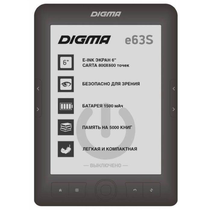"Электронная книга Digma E63S, 6"", E-Ink Carta, 800x600, 600 MГц, 4 Гб, темно-серая"
