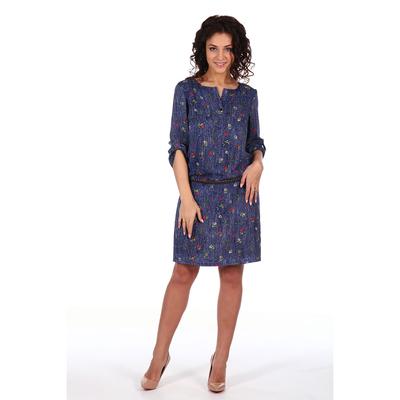 Платье женское Сантина цвет тёмно-синий, принт цветы, р-р 48