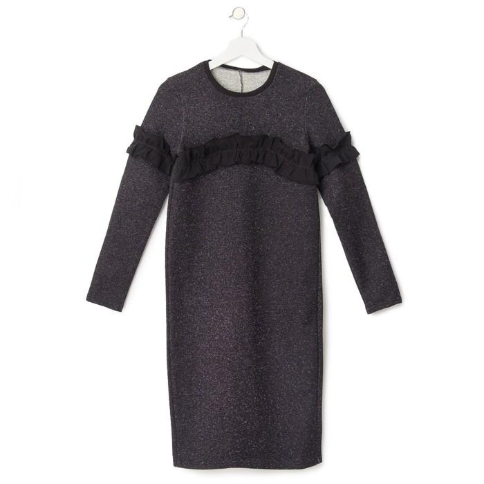 Платье женское KAFTAN с рюшей, р-р 48-50, чёрный