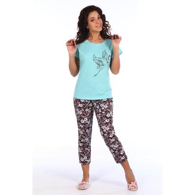 Комплект женский (футболка, бриджи) Есения цвет голубой, р-р 44